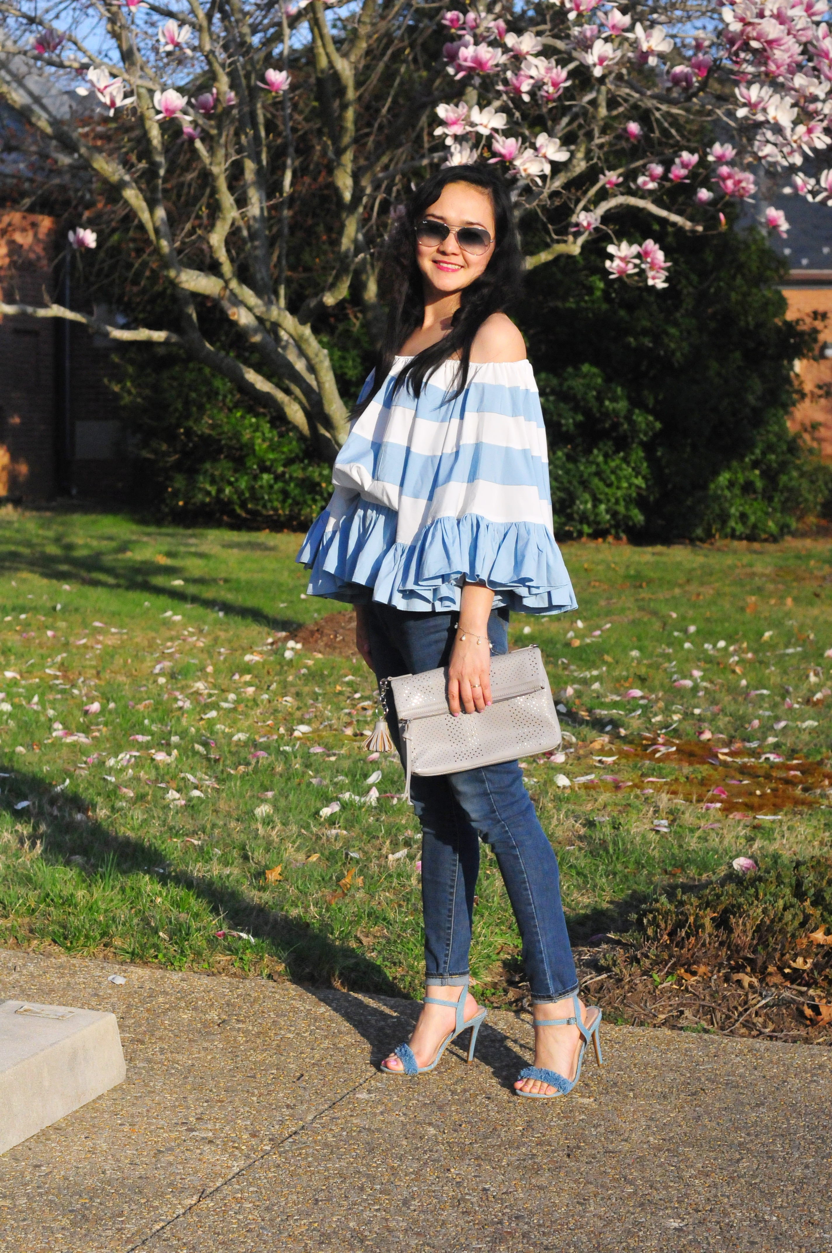 Feeling Fabulous with this Off the shoulder Ruffle stripe top