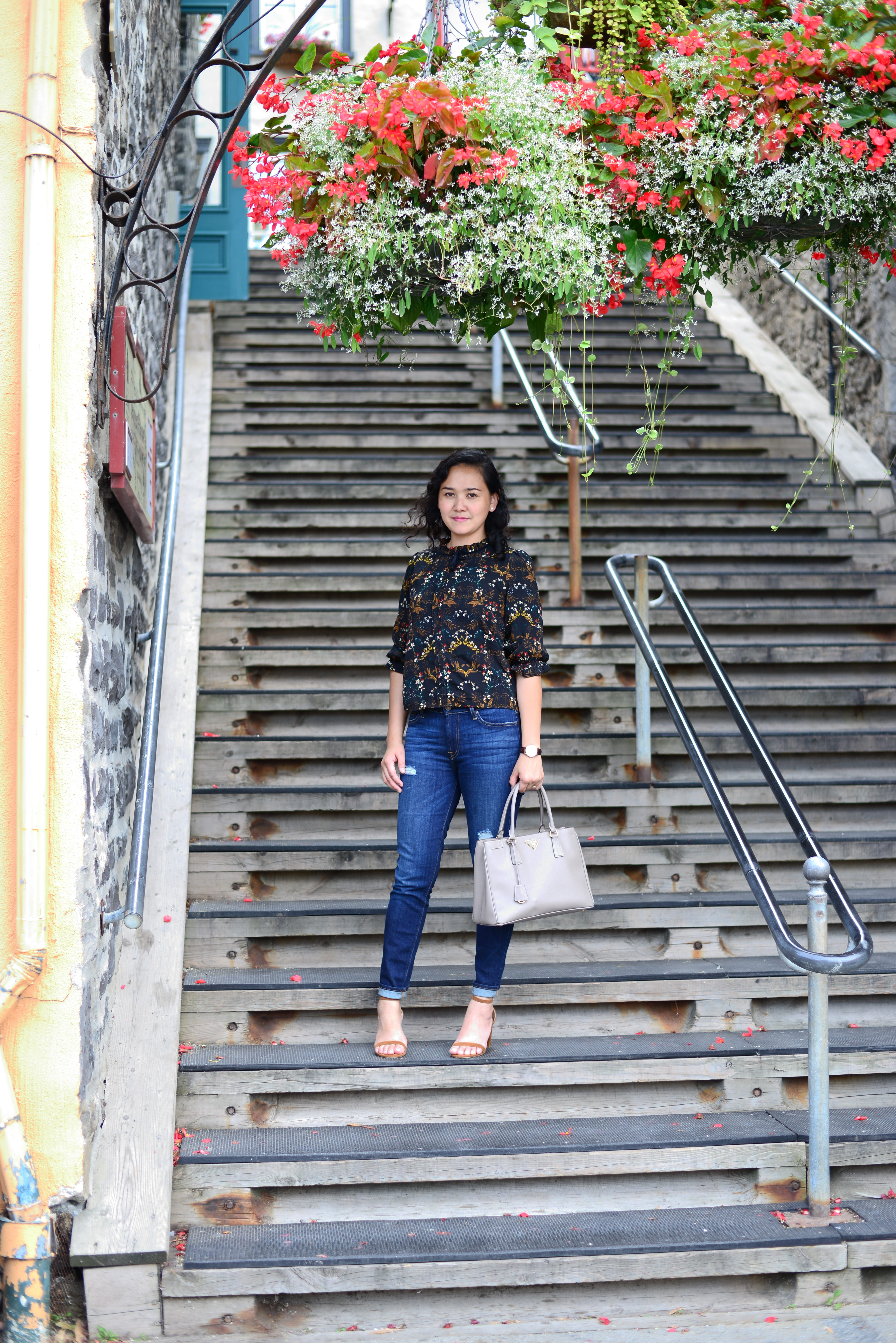 Floral Outfit, Stairs and Doors