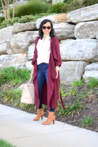 Split Long Outerwear in Burgundy