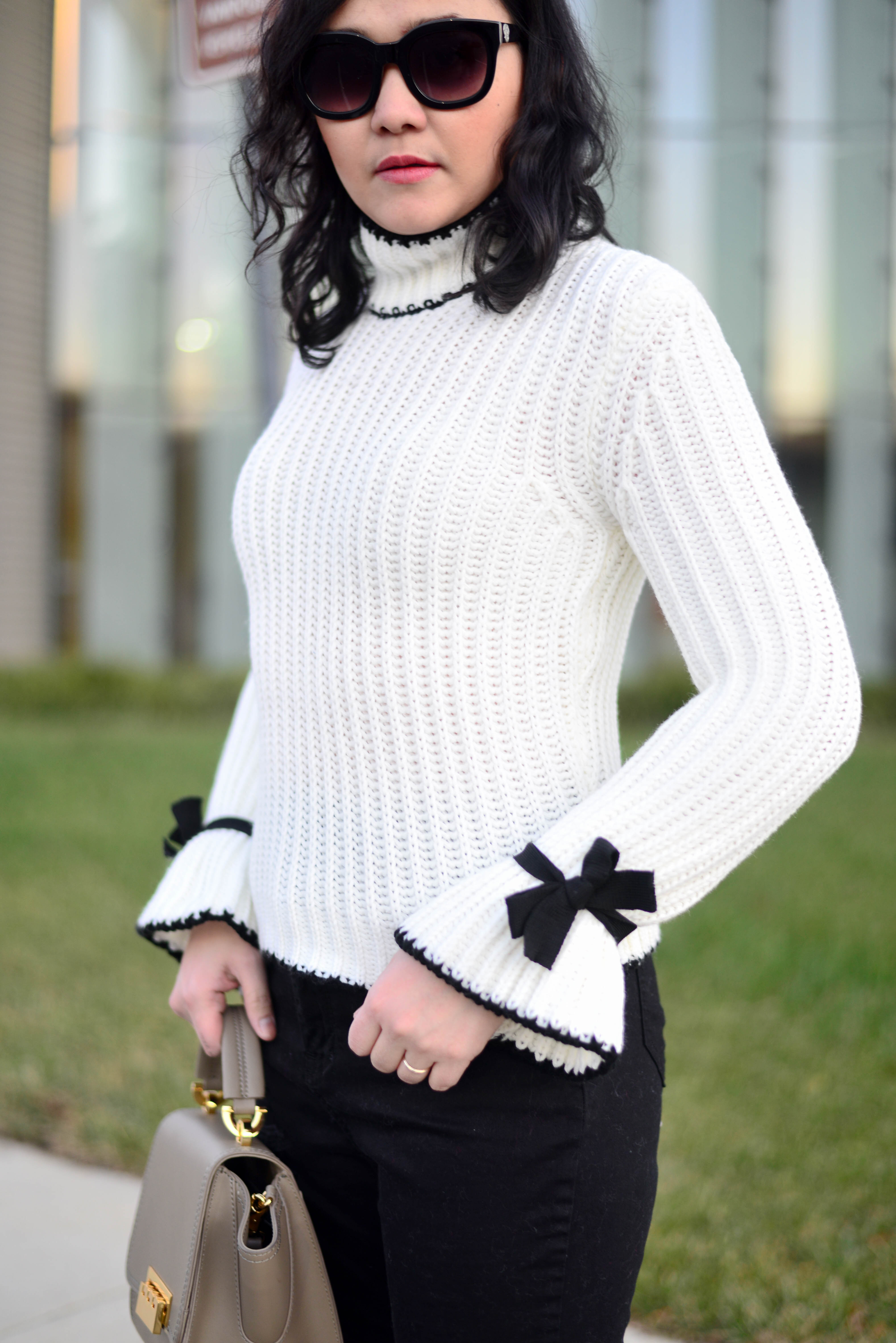 Bow Embellished Bell Sleeve Sweater