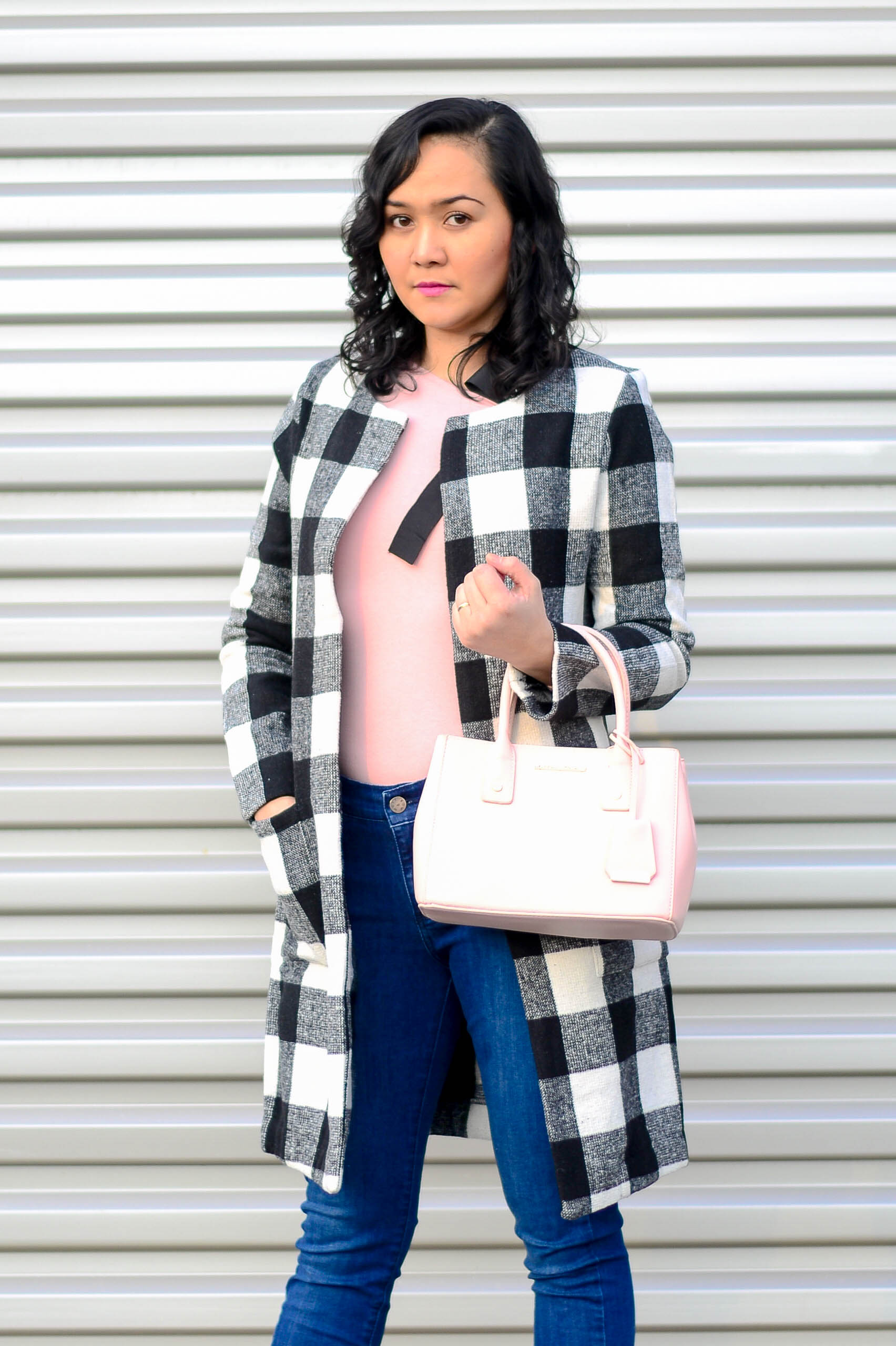 Checkered Coat and Pink Top
