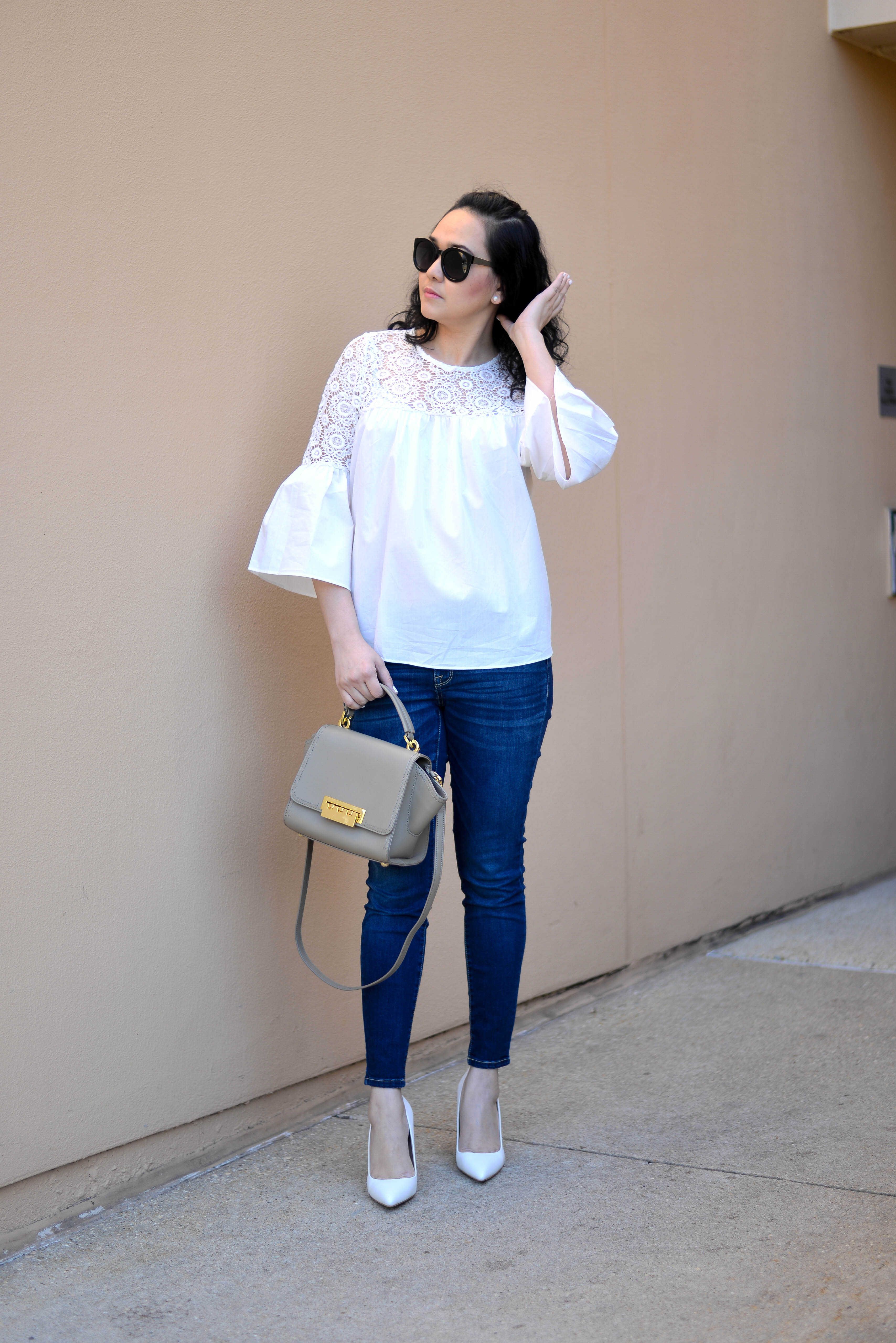 Spring Bell Sleeves and White Shoes