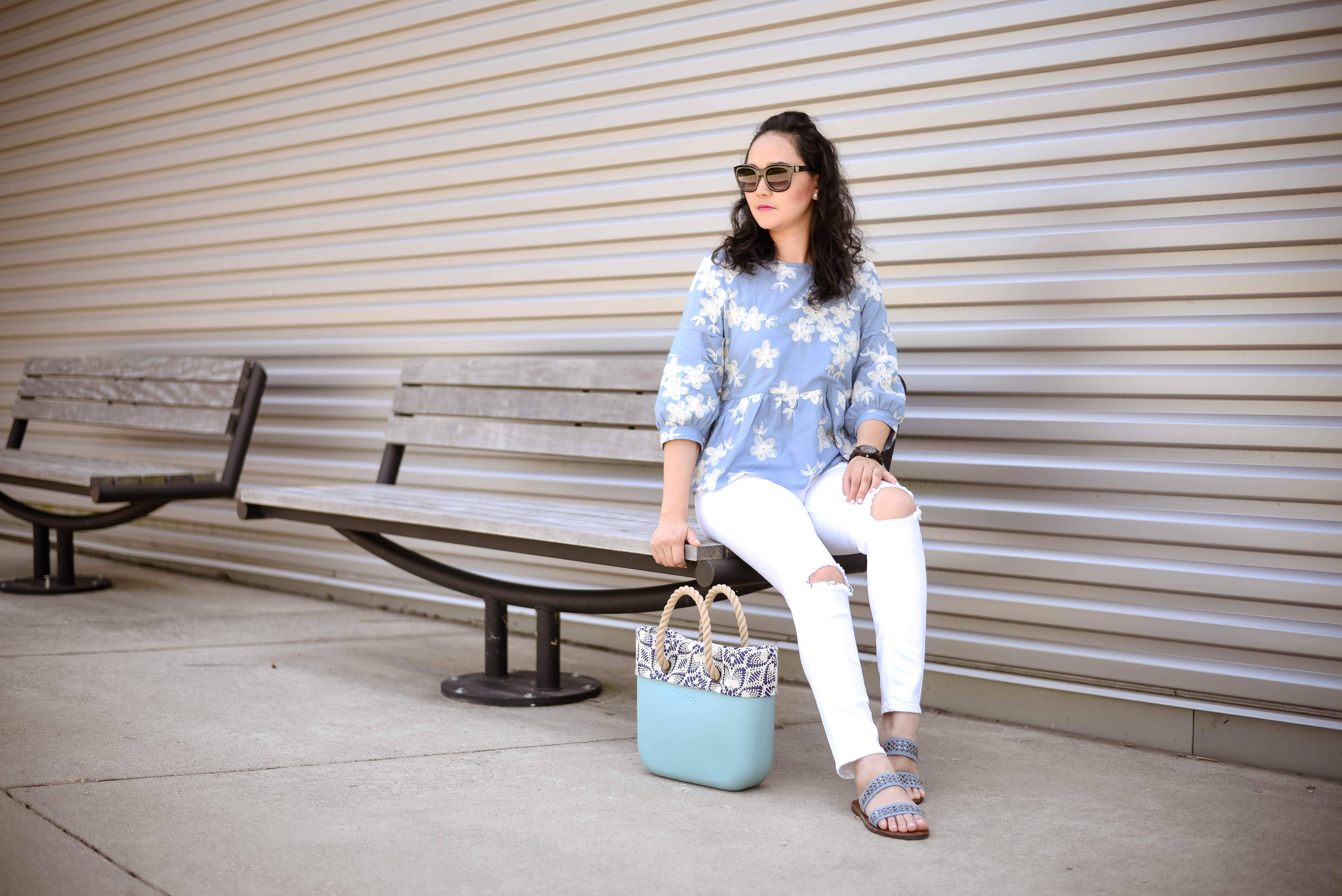 Chambray with Floral Embroidery