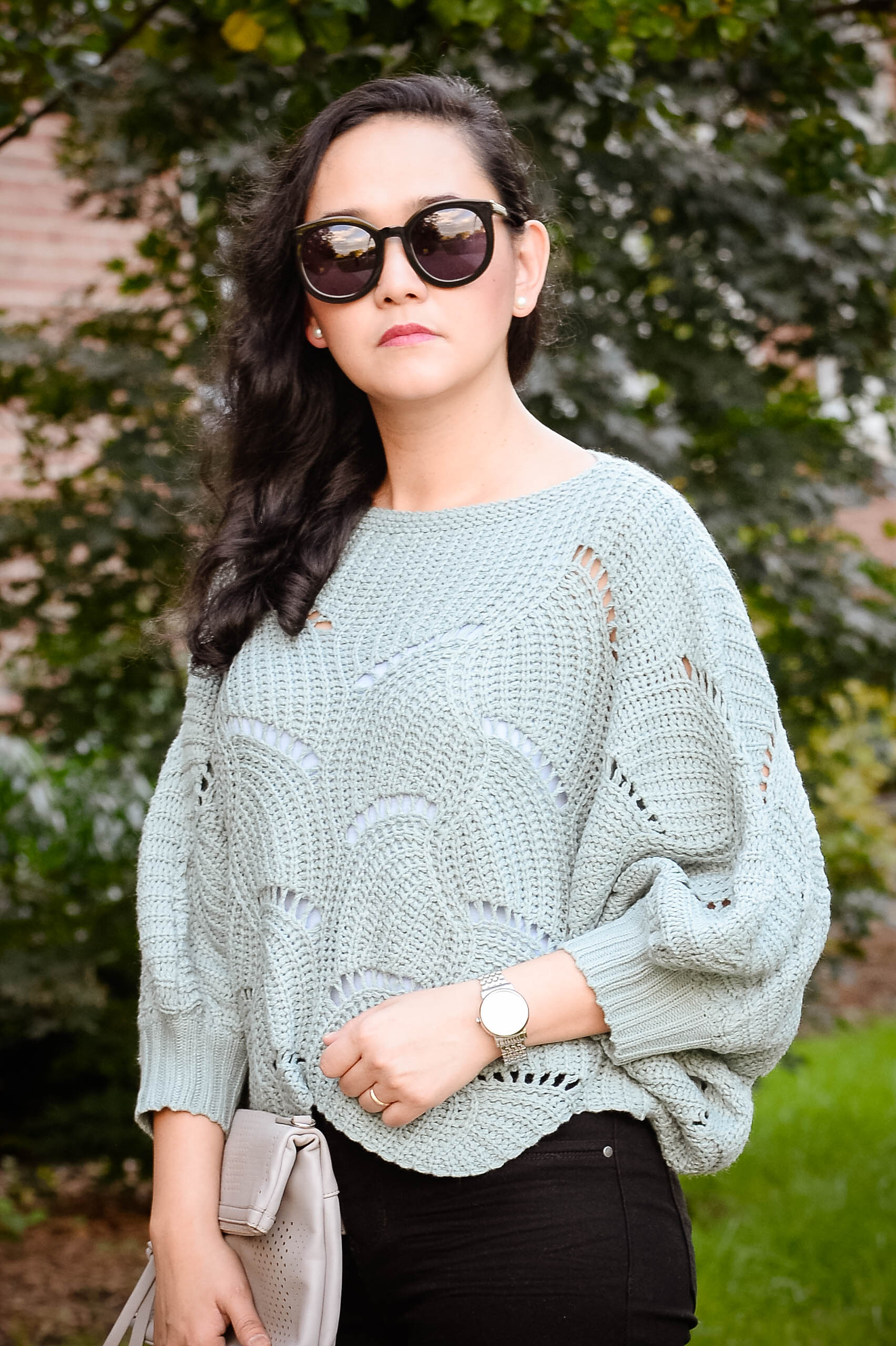Fall Casual: Eyelet Sweater