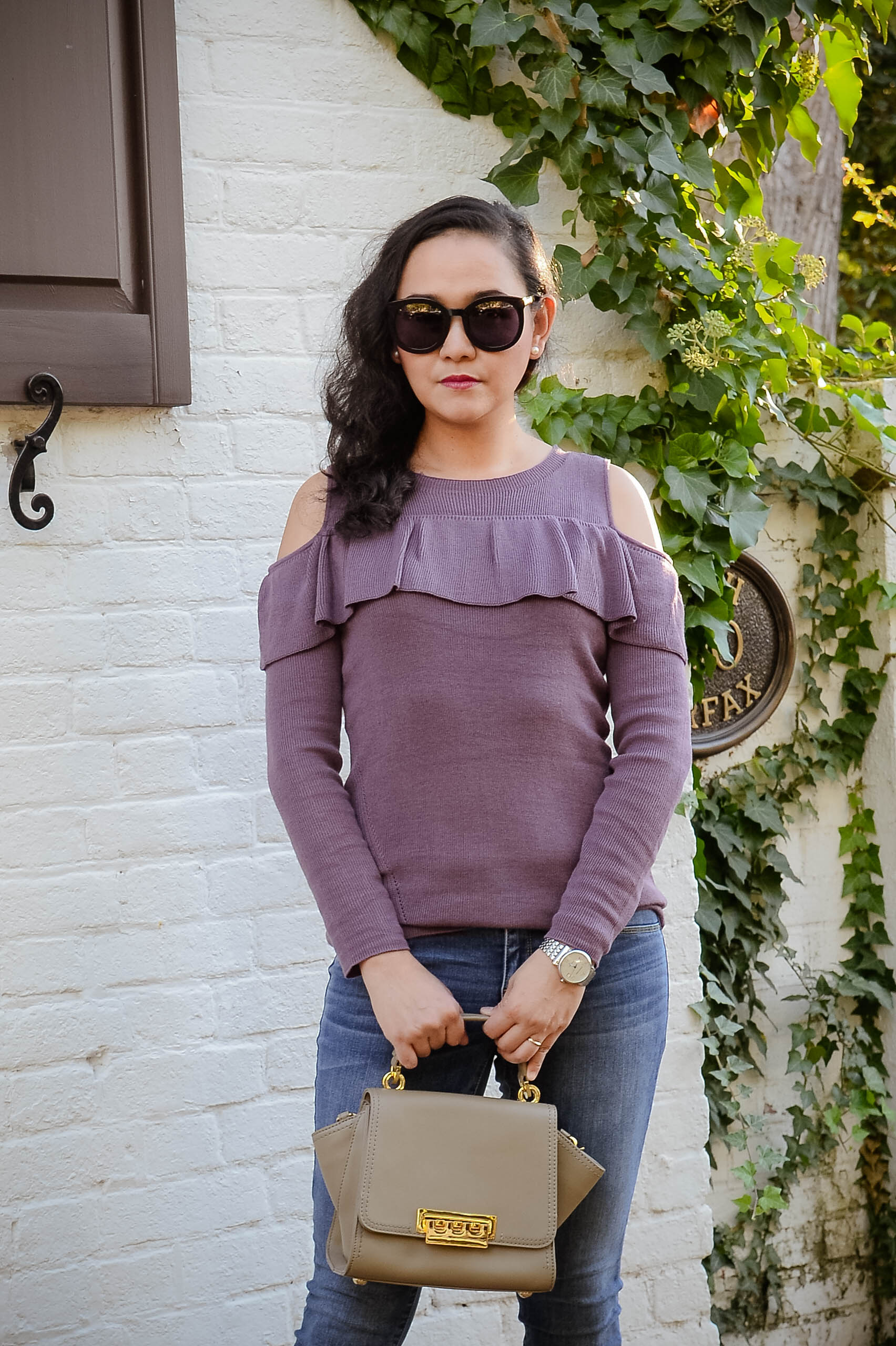Fall Casual: Off the Shoulder Ruffle Sweater
