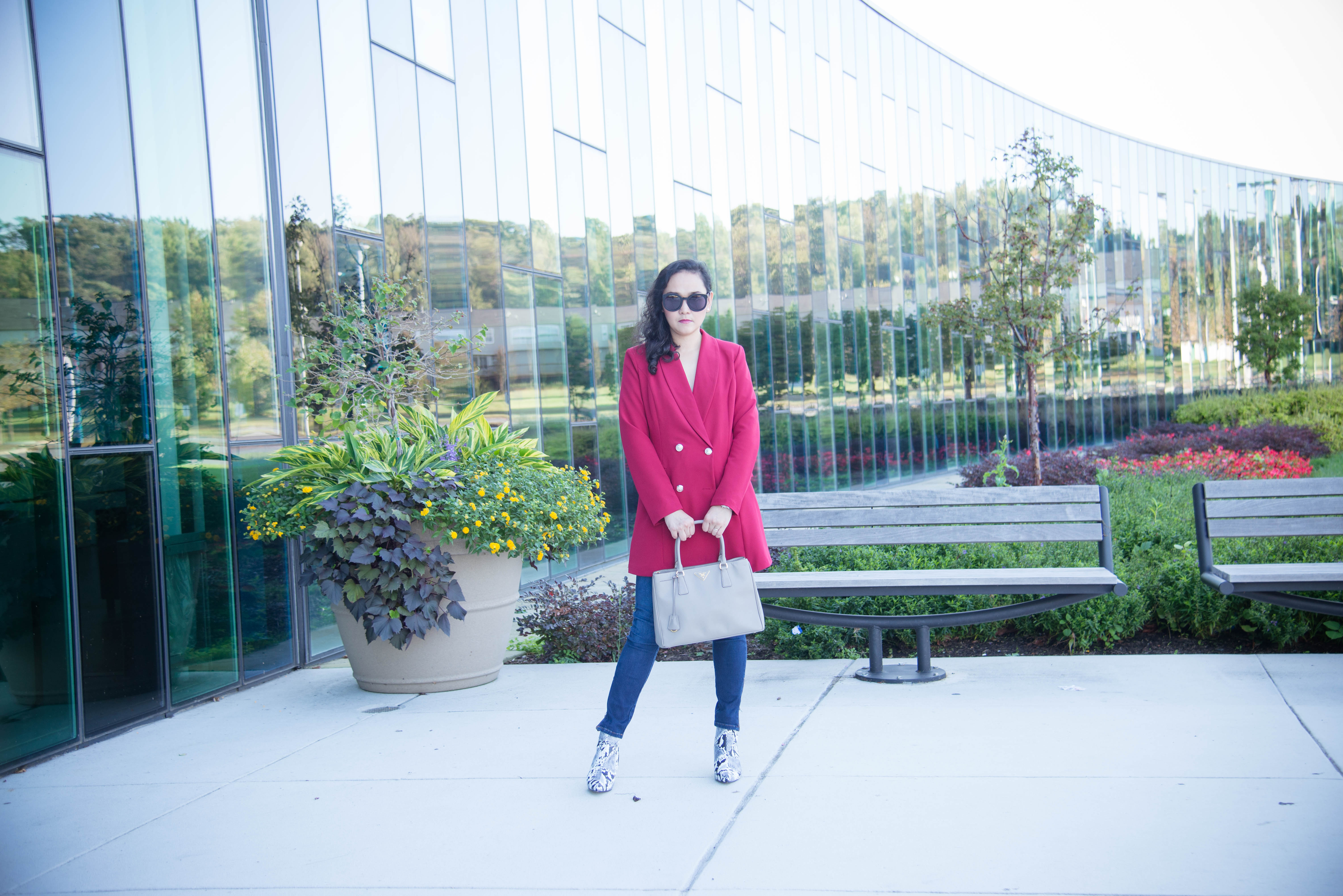 Red Long Blazer and Snake Skin Ankle Boots