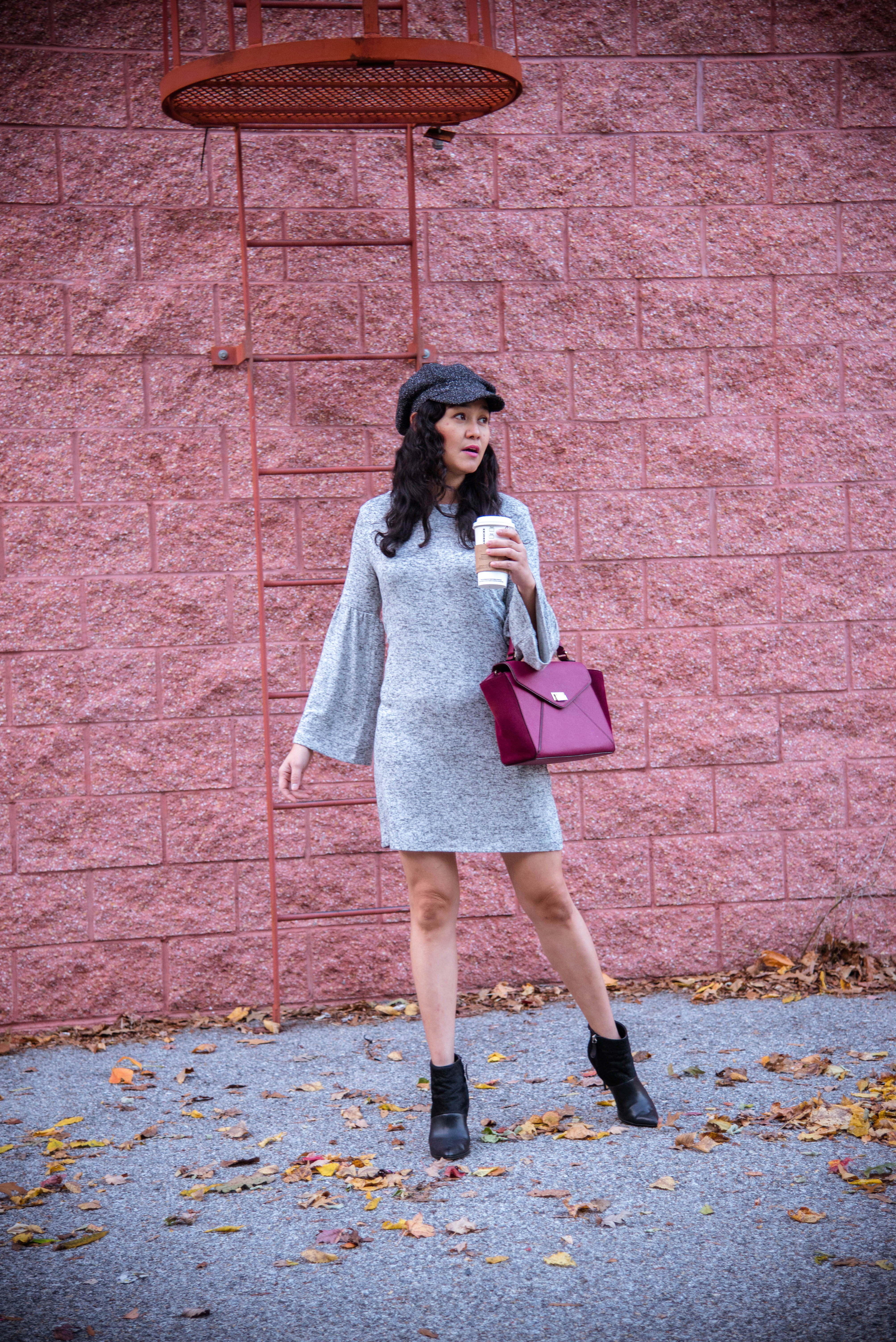 Dress Down Friday in Bell Sleeve Sweater Dress
