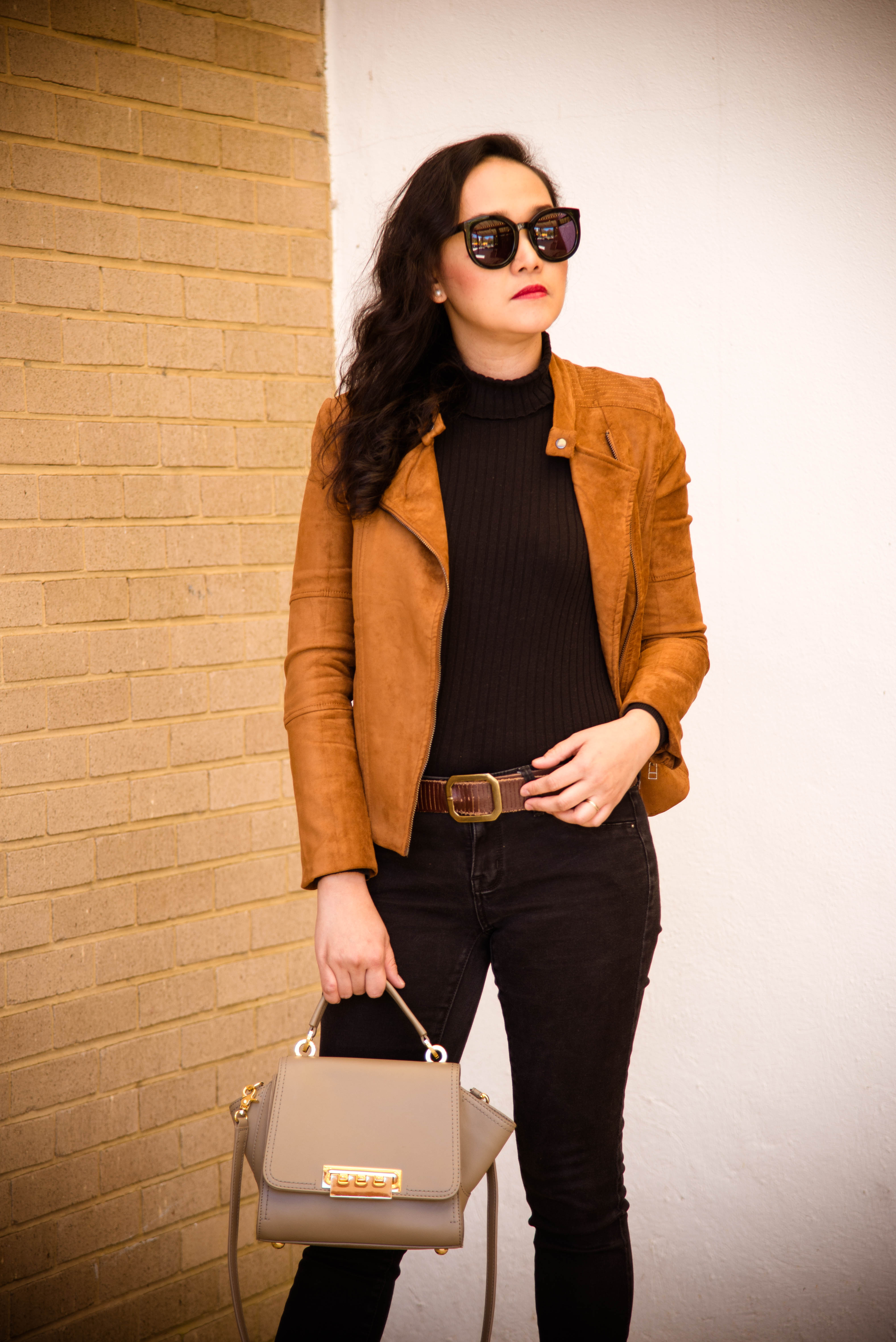 Mondays in Camel Faux Suede Jacket