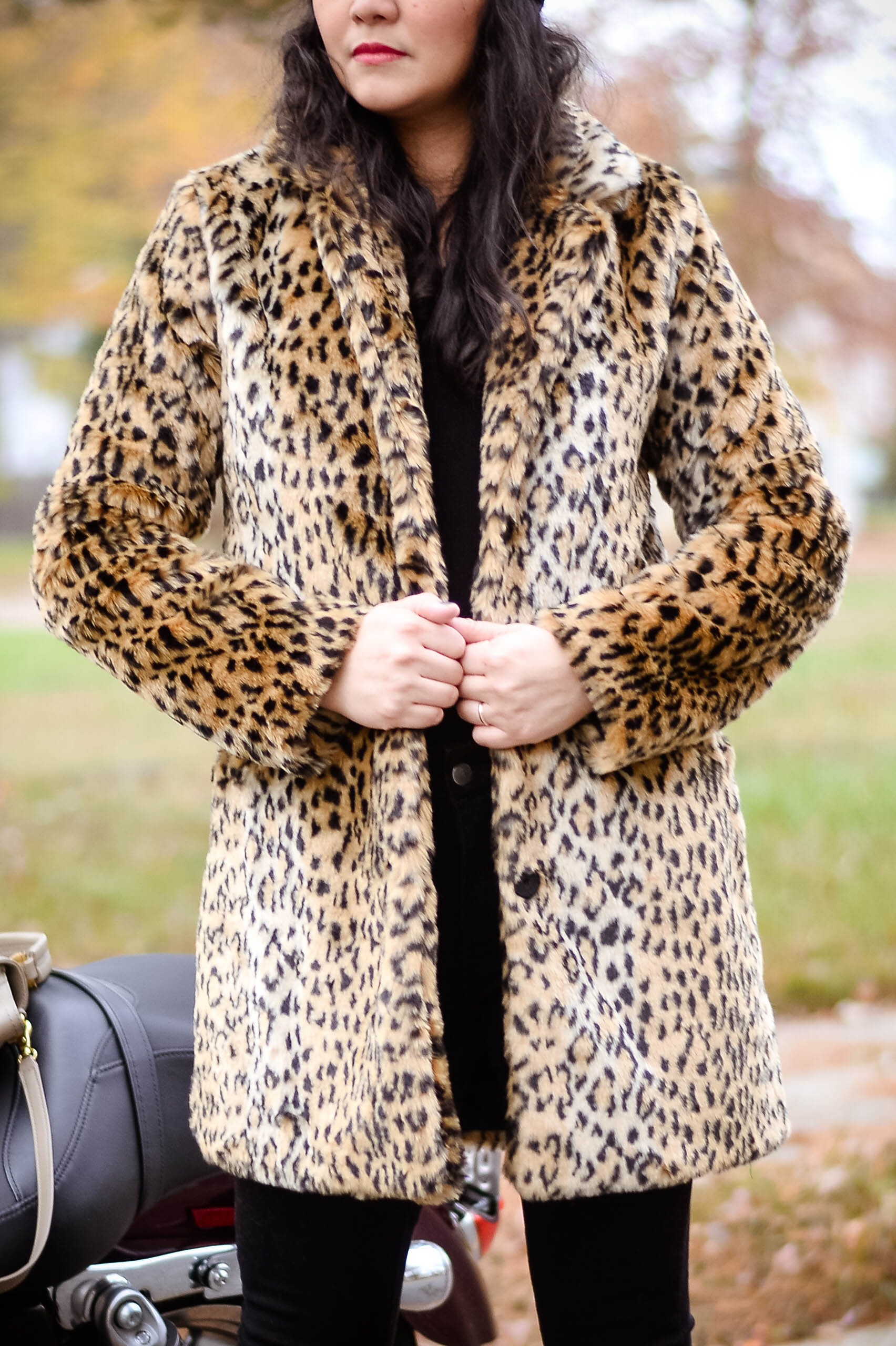 Welcoming the Week with Leopard Faux Fur Coat