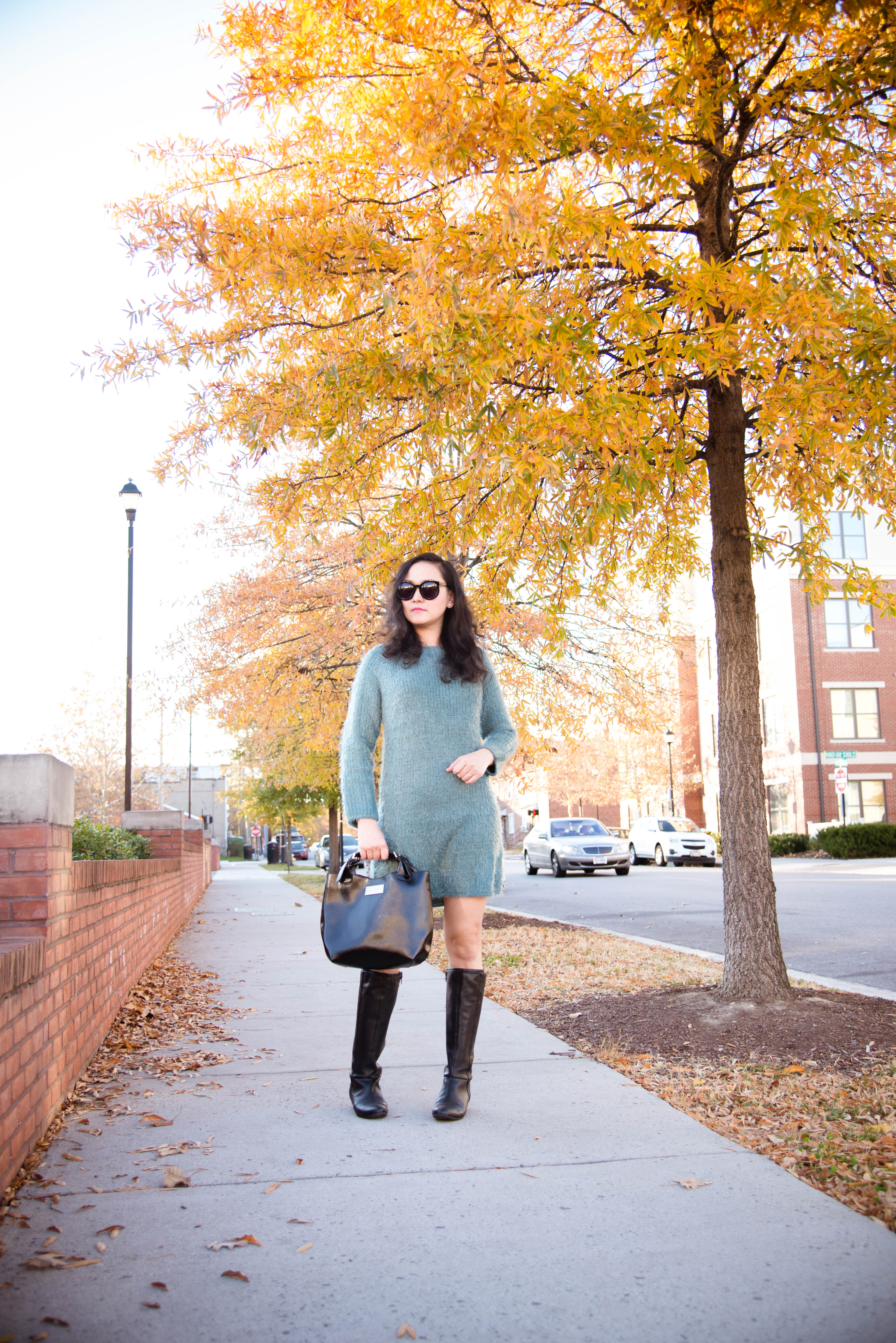 Coziest Fall Outfit in Fuzzy Knit Dress