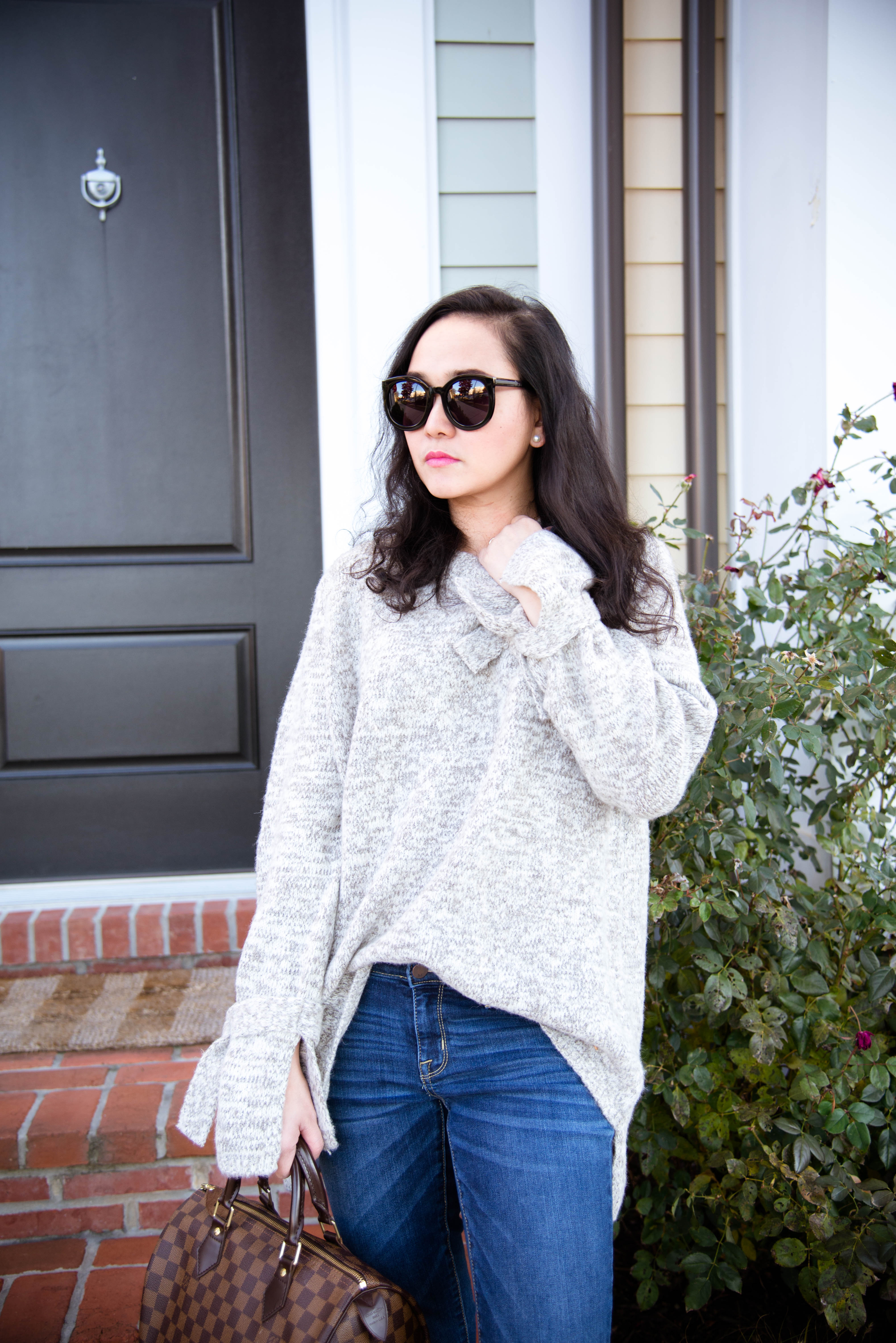 Cozy Tie Sleeve Oversized  Sweater