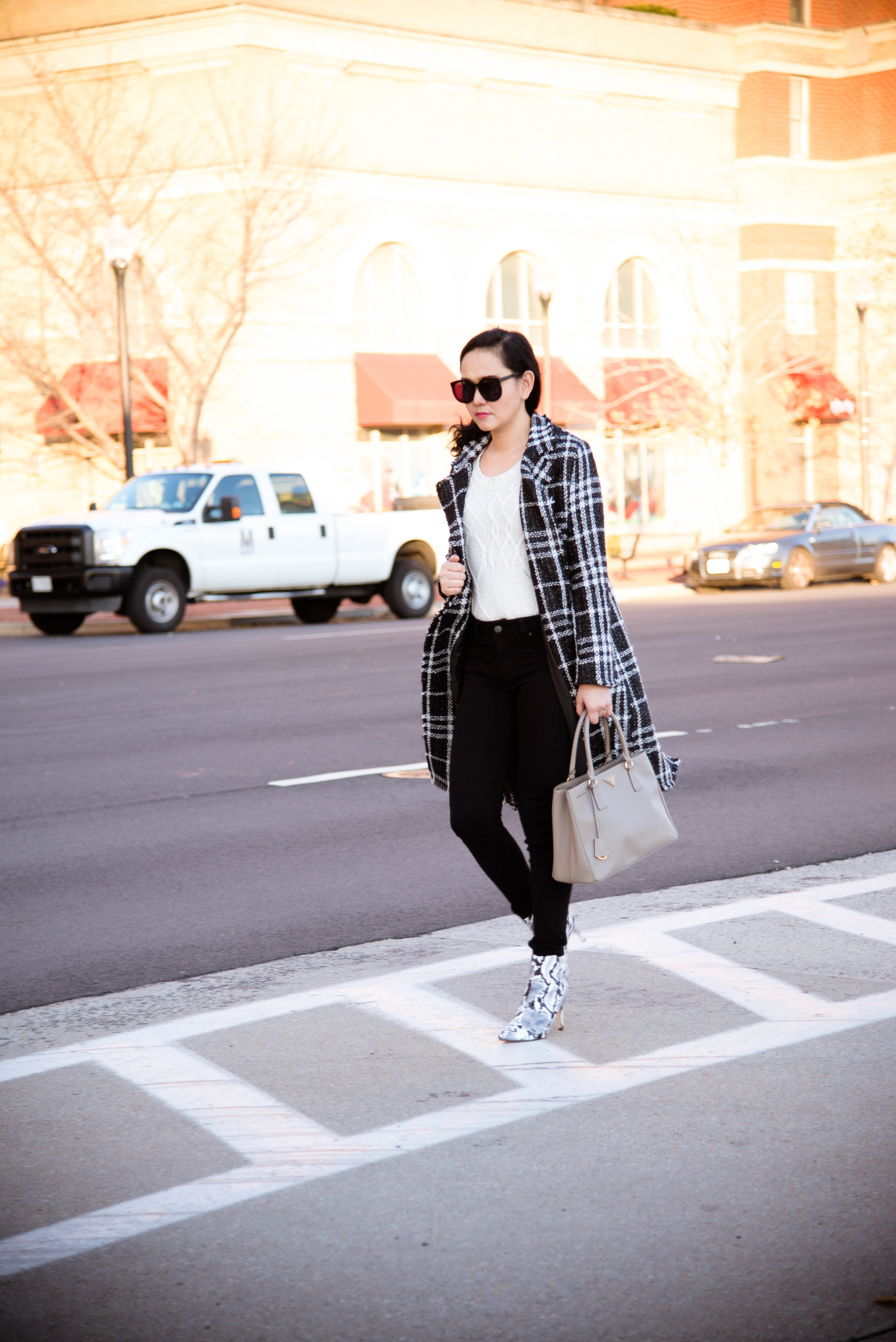 Plaid Coat in the City
