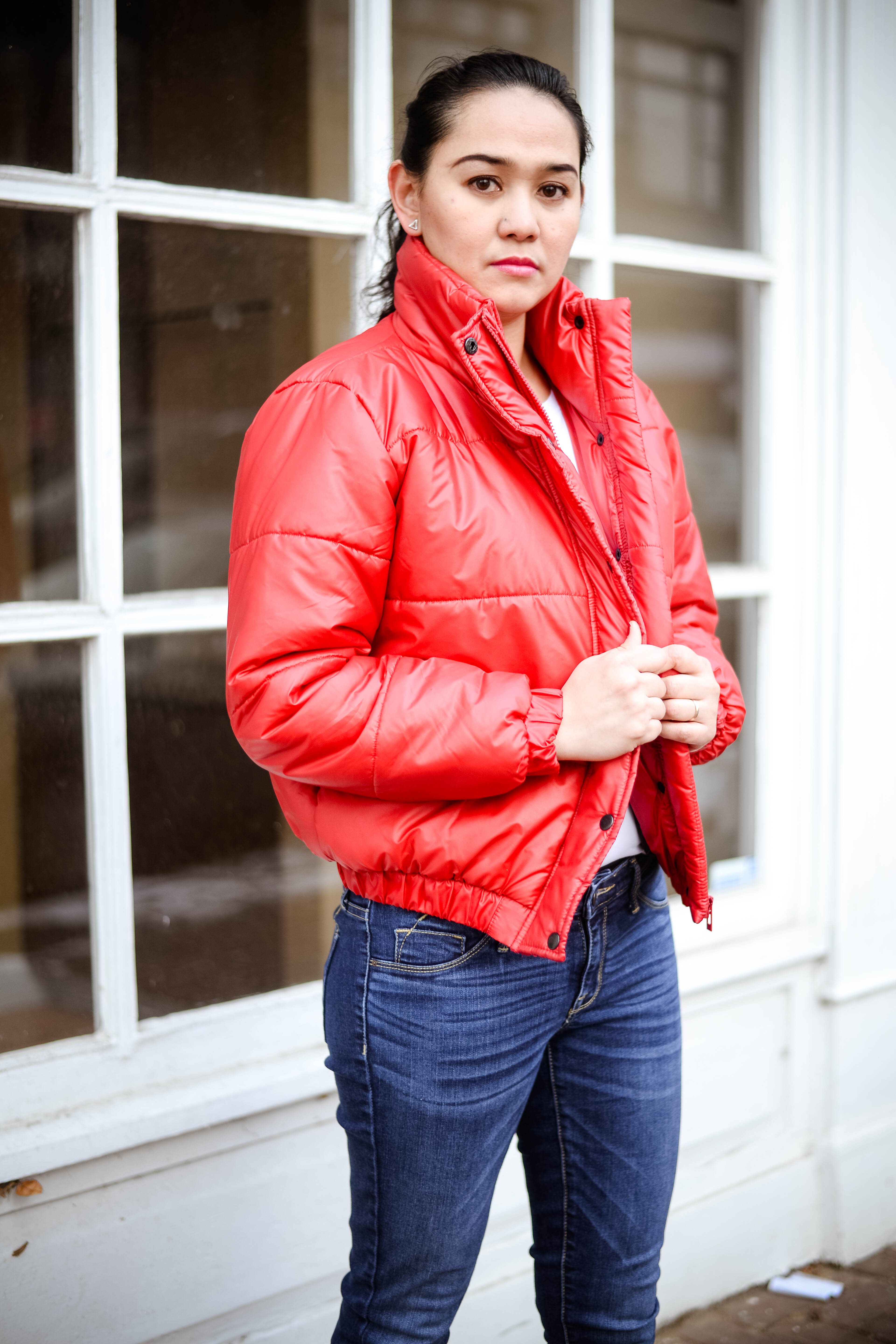 Winter Ready in Red Puffer Jacket